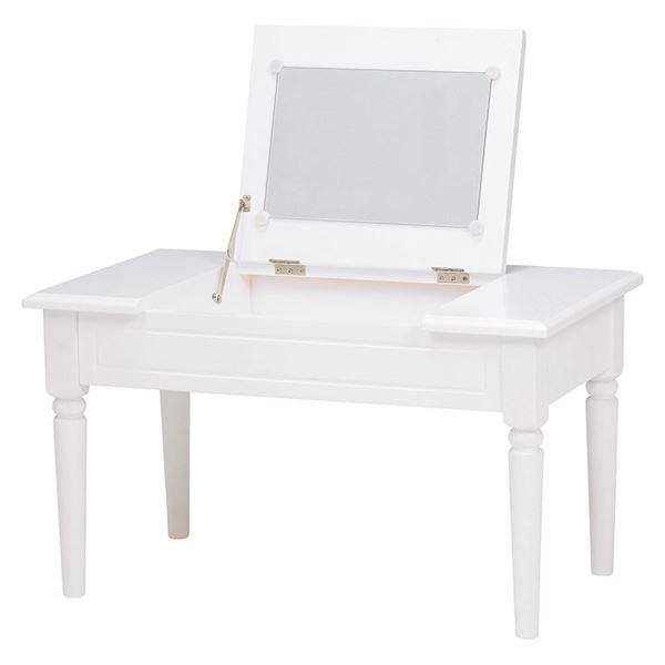 コスメテーブル(ドレッサー/化粧台) 木製 幅70cm 鏡付き ホワイト(白) 【代引不可】