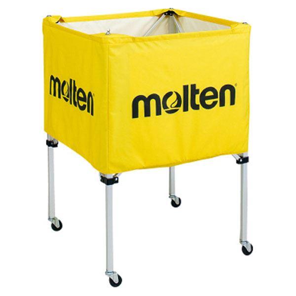 【モルテン Molten】 折りたたみ式 ボールカゴ 【中・背低 イエロー】 幅63×奥行63cm キャスター ケース付き