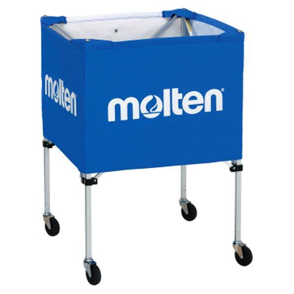 【モルテン Molten】 折りたたみ式 ボールカゴ 【屋外用 ブルー】 幅63×奥行63cm キャスター ケース付き