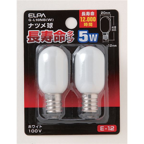 まとめ買い お得セット まとめ 国内正規品 ELPA 長寿命ナツメ球 電球 5W W ×50セット G-L10NB 新作 〔沖縄離島発送不可〕 E12 ホワイト 2個入