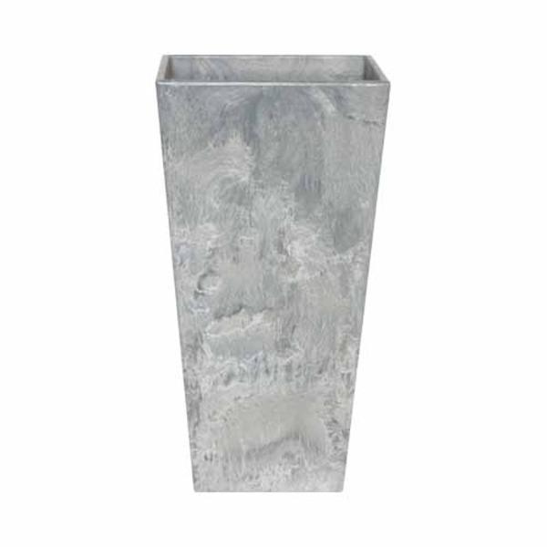 底面給水型 植木鉢/プランター 【トールスクエア型 グレー 幅40cm×高さ90cm】 底栓付 『アートストーン』 〔園芸用品〕