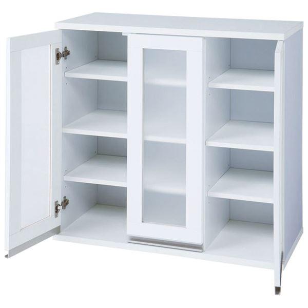食器棚/キッチンボード 【4段 扉3枚 幅90cm】 アクリル ハイグロスシート 『コンパクトキッチン収納シリーズ』