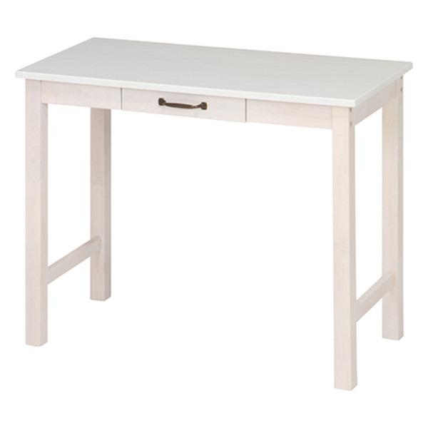 北欧風 デスク/マルチテーブル 【ホワイトウォッシュ】 幅90cm 引き出し1杯付き 『マンチェスター』【代引不可】