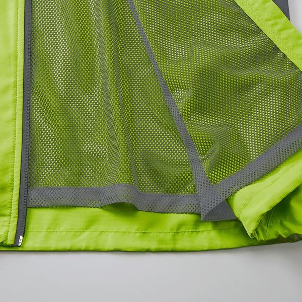 シャカシャカと音がしない撥水&防風加工・リフレクター・裏地付フルジップパーカー ライムエイド XL