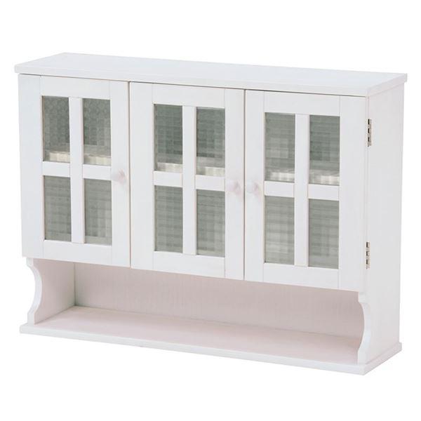 調味料ラック(キッチン収納/スパイスラック) 幅68cm ホワイト(白) 木製 扉付き 収納棚高さ調節可 カントリー調【代引不可】