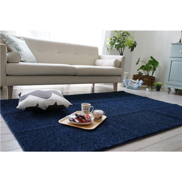 防ダニ ラグマット/絨毯 【130×185cm 長方形 ブルー】 日本製 洗える 防滑 『スミノエ レーヴ』 〔リビング ダイニング〕【代引不可】