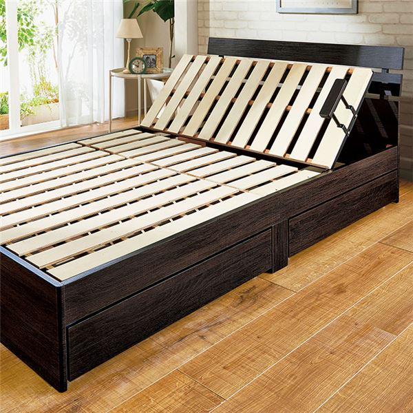 3段リクライニング すのこベッド (フレームのみ) 【セミダブル ダークブラウン】 収納付き 手動ギア式 スチールパイプ 〔寝室〕