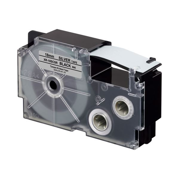 (まとめ)カシオ計算機 ラベルテープXR-18SCSR 黒文字銀テープ18mm【×5セット】
