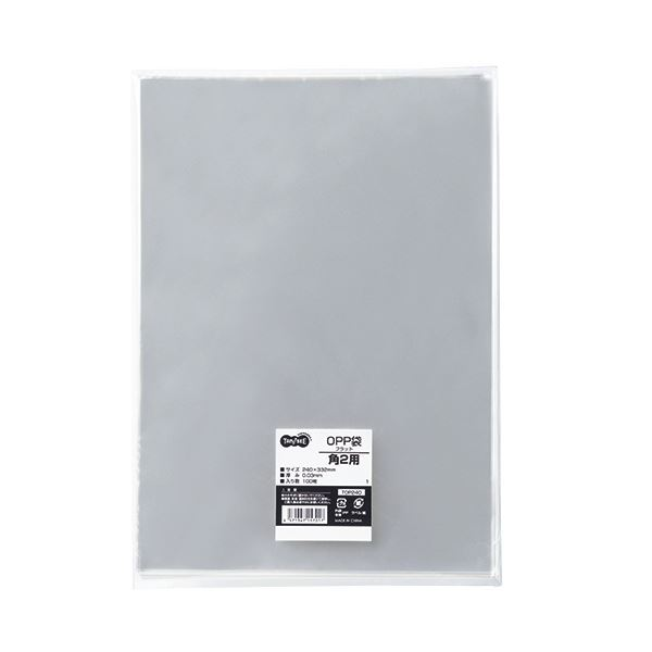 (まとめ) TANOSEE OPP袋 フラット 角2 240×332m 1パック(100枚) 【×10セット】