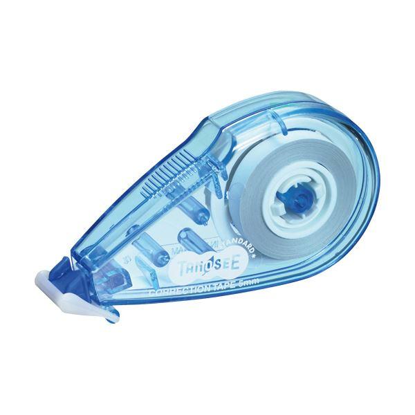 (まとめ) TANOSEE 修正テープ 5mm幅×8m ブルー 1個 【×100セット】