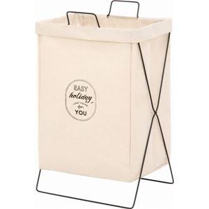 ランドリーバスケット/洗濯物ボックス 【アイボリー】 幅37cm 横型取手付き 綿・麻素材 〔脱衣所 洗濯用品〕 【6個セット】【代引不可】