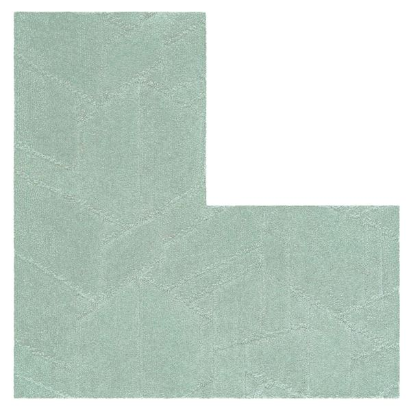 防炎 タイルカーペット 【60×60cm L字型 グリーン 4枚入】 日本製 防滑 耐熱 耐摩耗 『ホームタイルユニットカーペット』【代引不可】
