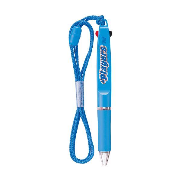 (まとめ) 三菱鉛筆 ストラップ付2色ボールペンプレイヤーズ 0.7mm (軸色 水色) SE382.8 1本 【×30セット】
