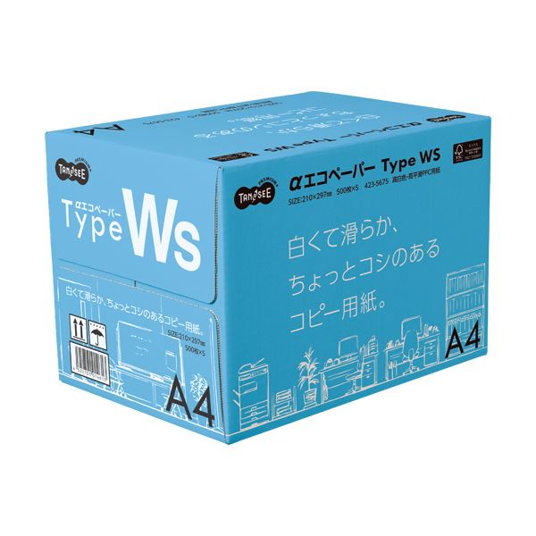 (まとめ)TANOSEE αエコペーパータイプWS 白くて滑らか、ちょっとコシのあるコピー用紙。 A4 1箱(2500枚:500枚×5冊) 【×3セット】