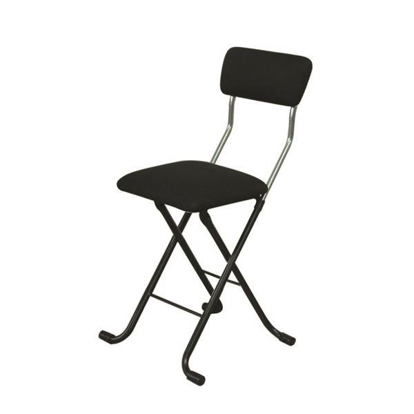折りたたみ椅子 【4脚セット ブラック×ブラック】 幅40cm 日本製 スチールパイプ 『Jメッシュチェア』【代引不可】