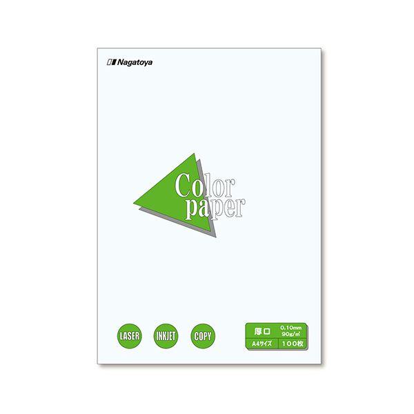 (まとめ) 長門屋商店 Color Paper A4 厚口 白 ナ-3301 1冊(100枚) 【×10セット】