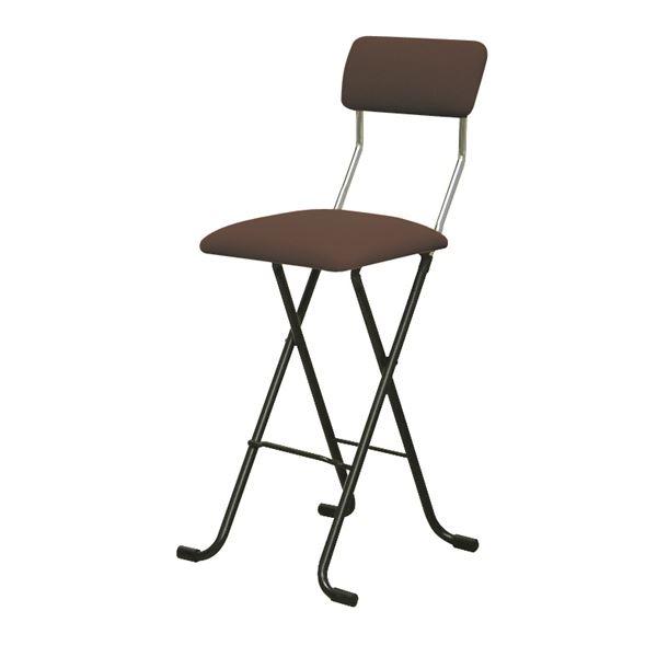 折りたたみ椅子 【2脚セット ブラウン×ブラック】 幅40cm 日本製 スチールパイプ 『Jメッシュチェア ハイ』【代引不可】