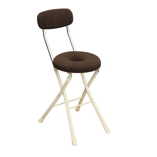 円座 折りたたみ椅子 【4脚セット ブラウン×ミルキーホワイト】 幅33cm 日本製 スチール 『スイーツチェア ドーナツ』【代引不可】