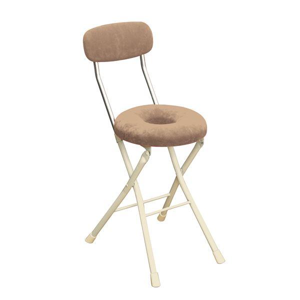 円座 折りたたみ椅子 【4脚セット アイボリー×ミルキーホワイト】 幅33cm 日本製 スチール 『スイーツチェア ドーナツ』【代引不可】