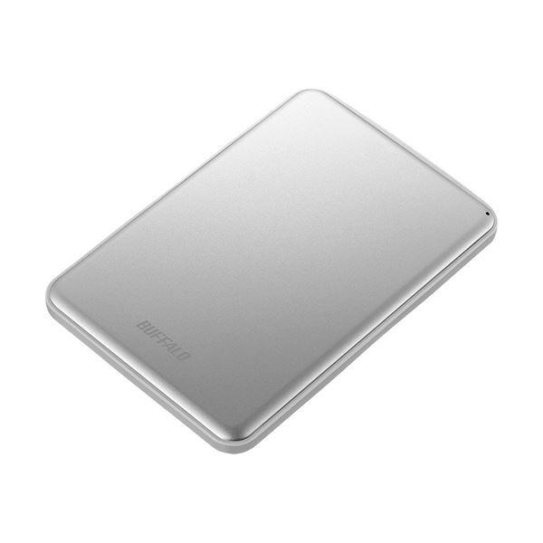 Mac & Windows両対応の薄型ポータブルHDD バッファロー MiniStation USB3.1(Gen1)対応 アルミ素材&薄型ポータブルHDD 1TB シルバー HD-PUS1.0U3-SVD 1台〔沖縄離島発送不可〕