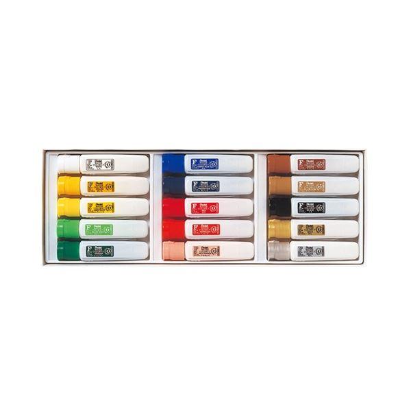 (まとめ) ぺんてる エフ水彩 15色(金・銀入)ポリチューブ入 WFC1-15 1セット 【×10セット】