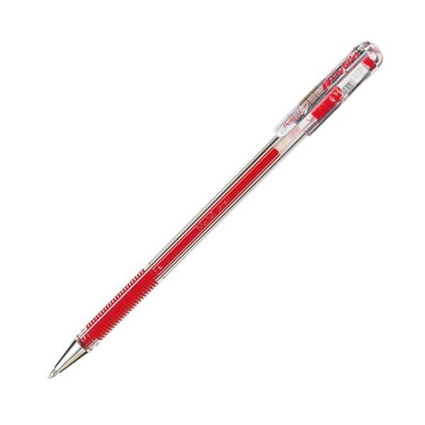 (まとめ) ぺんてる ゲルインクボールペン ハイブリッド 0.5mm 赤 業務用パック EK105-GB 1箱(10本) 【×10セット】