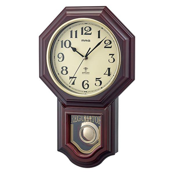 電波 壁掛け時計/ウォールクロック 【ブラウン】 幅29.7cm 単三電池対応 『鹿鳴館DX』 〔リビング ダイニング〕