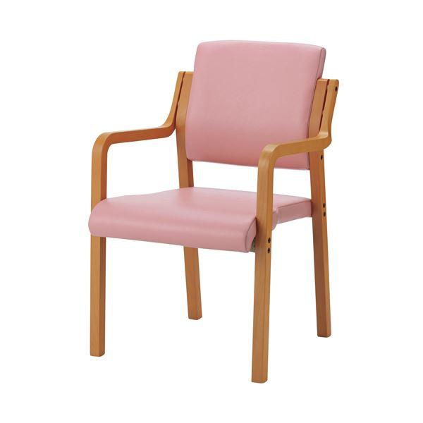 ジョインテックス 会議イス WF-C5AL ピンク 肘付 木製