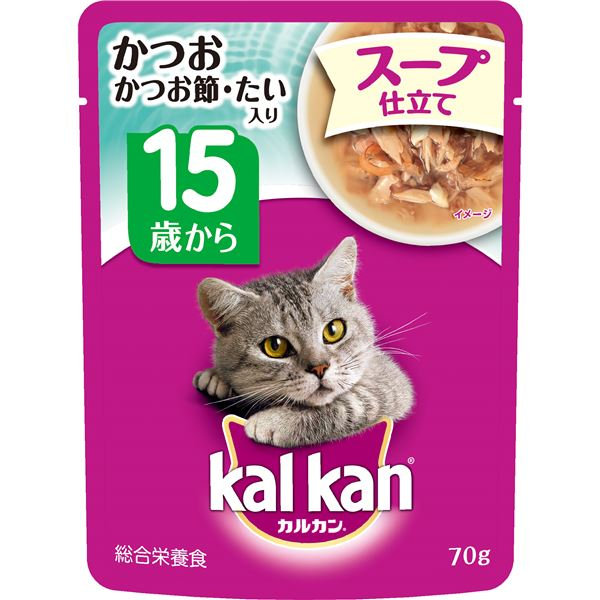 (まとめ)カルカン パウチ スープ仕立て 15歳から かつお かつお節・たい入り 70g【×160セット】【ペット用品・猫用フード】