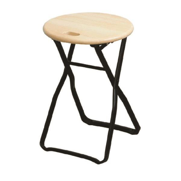 折りたたみ椅子 【4脚セット ナチュラル×ブラック】 幅32cm 日本製 木製 スチールパイプ 『キャプテンチェア』【代引不可】