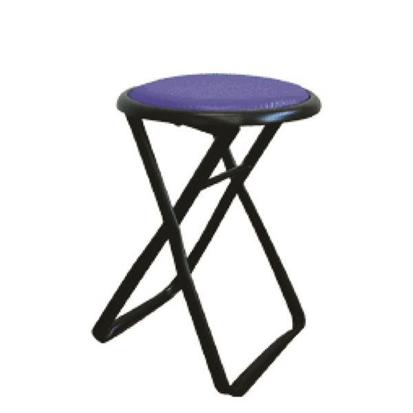 折りたたみ椅子 【6脚セット ブルー×ブラック】 幅32cm 日本製 スチールパイプ 『キャプテンチェア』【代引不可】