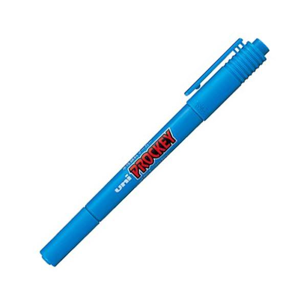 (まとめ) 三菱鉛筆 水性マーカー プロッキー 細字丸芯+極細 水色 PM120T.8 1本 【×100セット】