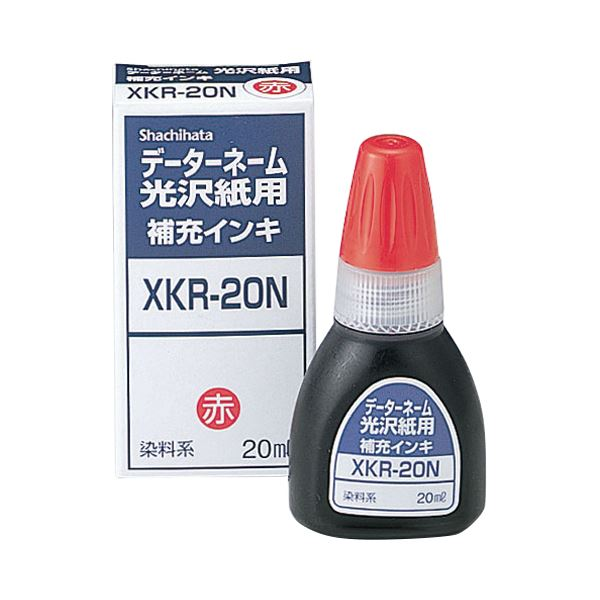 (まとめ) シヤチハタ Xスタンパー 光沢紙用 補充インキ 染料系 20ml 赤 XKR-20N 1個 【×30セット】