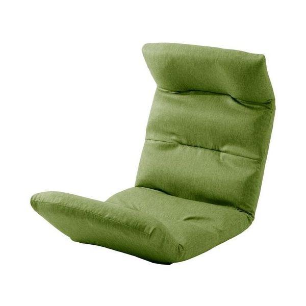 リラックスチェア/座椅子 【上タイプ グリーン】 14段階リクライニング 折りたたみ収納 〔リビング雑貨 生活雑貨〕【代引不可】