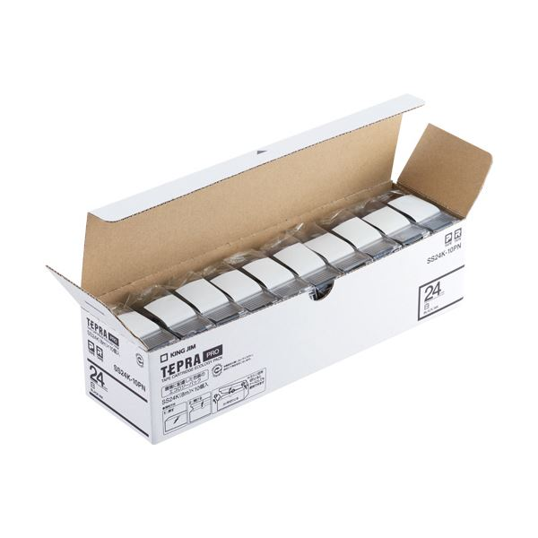キングジム テプラ PROテープカートリッジ 24mm 白/黒文字 エコパック SS24K-10PN1セット(50個:10個×5パック)