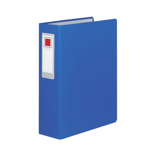(まとめ)コクヨ チューブファイル(ロングボディ)片開き A4タテ 2穴 600枚収容 60mmとじ 背幅89mm 青 フ-L660NB 1セット(8冊)【×3セット】