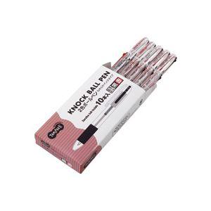 (まとめ) TANOSEE ノック式油性2色ボールペン(なめらかインク) 0.7mm 1セット(10本) 【×10セット】