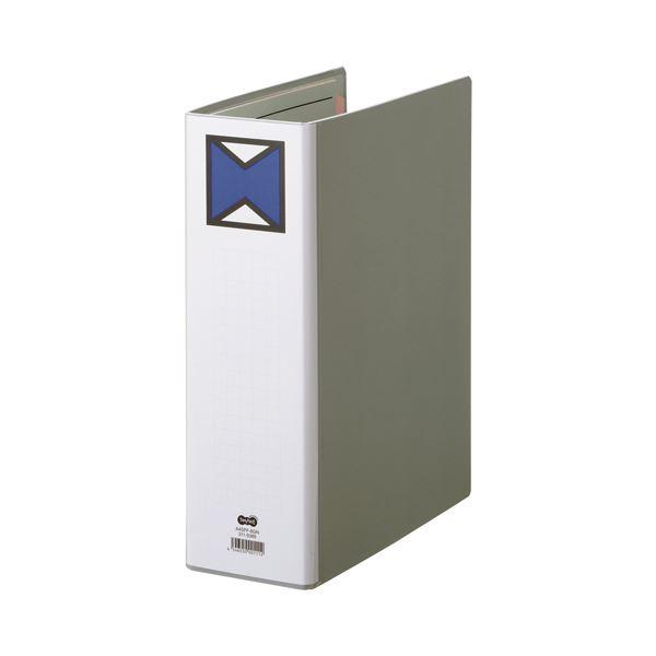 (まとめ) TANOSEE パイプ式ファイル 片開き A4タテ 800枚収容 背幅96mm グレー 1冊 【×10セット】