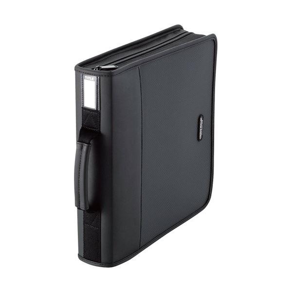本棚に縦置きもできる自立タイプ。 (まとめ) エレコム CD/DVDファスナーケースハンドル付 160枚収納 ブラック CCD-SS160BK 1個 【×10セット】