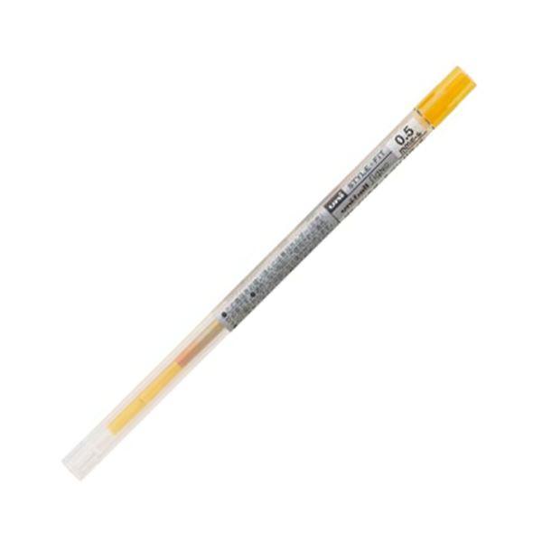 (まとめ) 三菱鉛筆 ゲルインクボールペンスタイルフィット 替芯 0.5mm ゴールデンイエロー UMR10905.69 1セット(10本) 【×10セット】