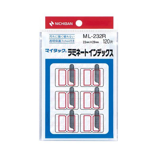 (まとめ) ニチバン マイタック ラミネートインデックス 保護フィルム付 中 23×29mm 赤枠 ML-232R 1パック(120片:12片×10シート) 【×50セット】
