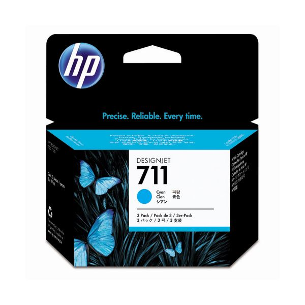 インクカートリッジ 純正インクカートリッジ・リボンカセット (まとめ) HP711 インクカートリッジ シアン 29ml/個 染料系 CZ134A 1箱(3個) 【×10セット】