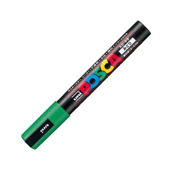 (まとめ) 三菱鉛筆 水性マーカー ポスカ 中字丸芯 緑 PC5M.6 1本 【×50セット】
