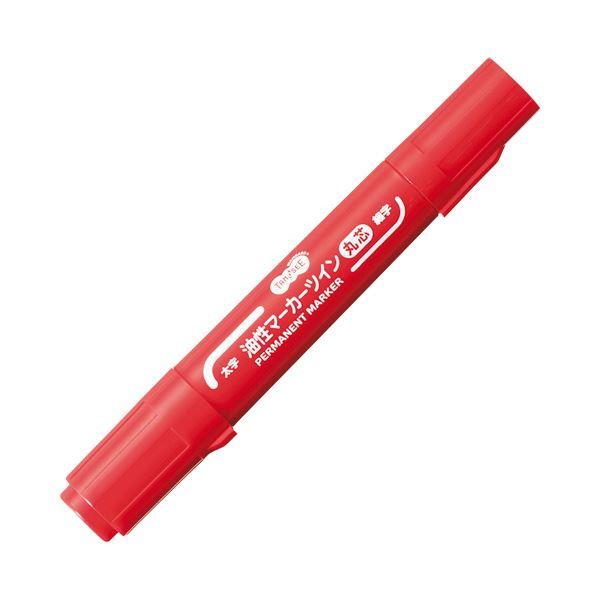(まとめ) TANOSEE キャップ式油性マーカーツイン 太字(丸芯)+細字 赤 1本 【×100セット】