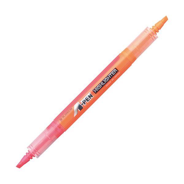 (まとめ) プラチナ A-PEN 蛍光ラインマーカーツイン ピンク/オレンジ CSAW-150 #74/75 1本 【×100セット】