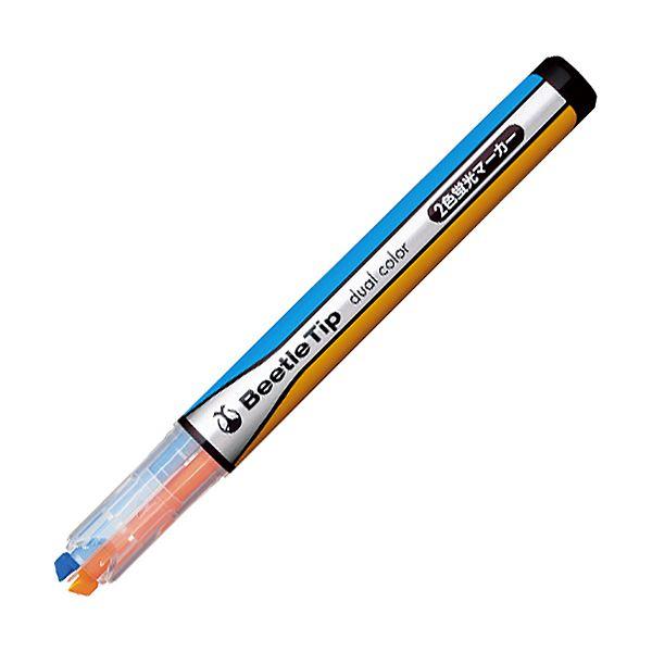 (まとめ) コクヨ 2色蛍光マーカービートルティップ オレンジ×ライトブルー PM-L303-3-1P 1本 【×100セット】