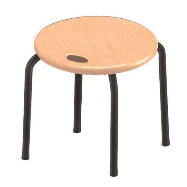 モダン スタッキングチェア 【同色4脚セット ナチュラル×ブラック】 幅32cm 日本製 木製 『ハンドルスツールロー』【代引不可】