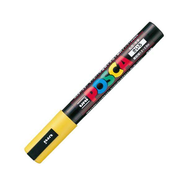 (まとめ) 三菱鉛筆 水性マーカー ポスカ 中字丸芯 黄 PC5M.2 1本 【×50セット】