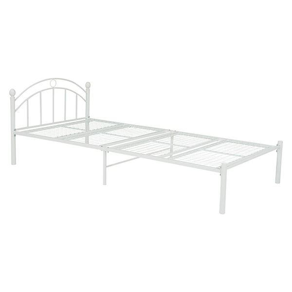 宮なし シングルベッド (フレームのみ) ホワイト 約幅99cm スチールパイプ 通気性 シンプル 〔寝室 ベッドルーム〕【代引不可】