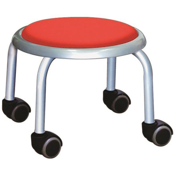 スタッキングチェア/丸椅子 【同色4脚セット レッド×シルバー】 幅32cm 日本製 スチール 『ローキャスター ボン』【代引不可】